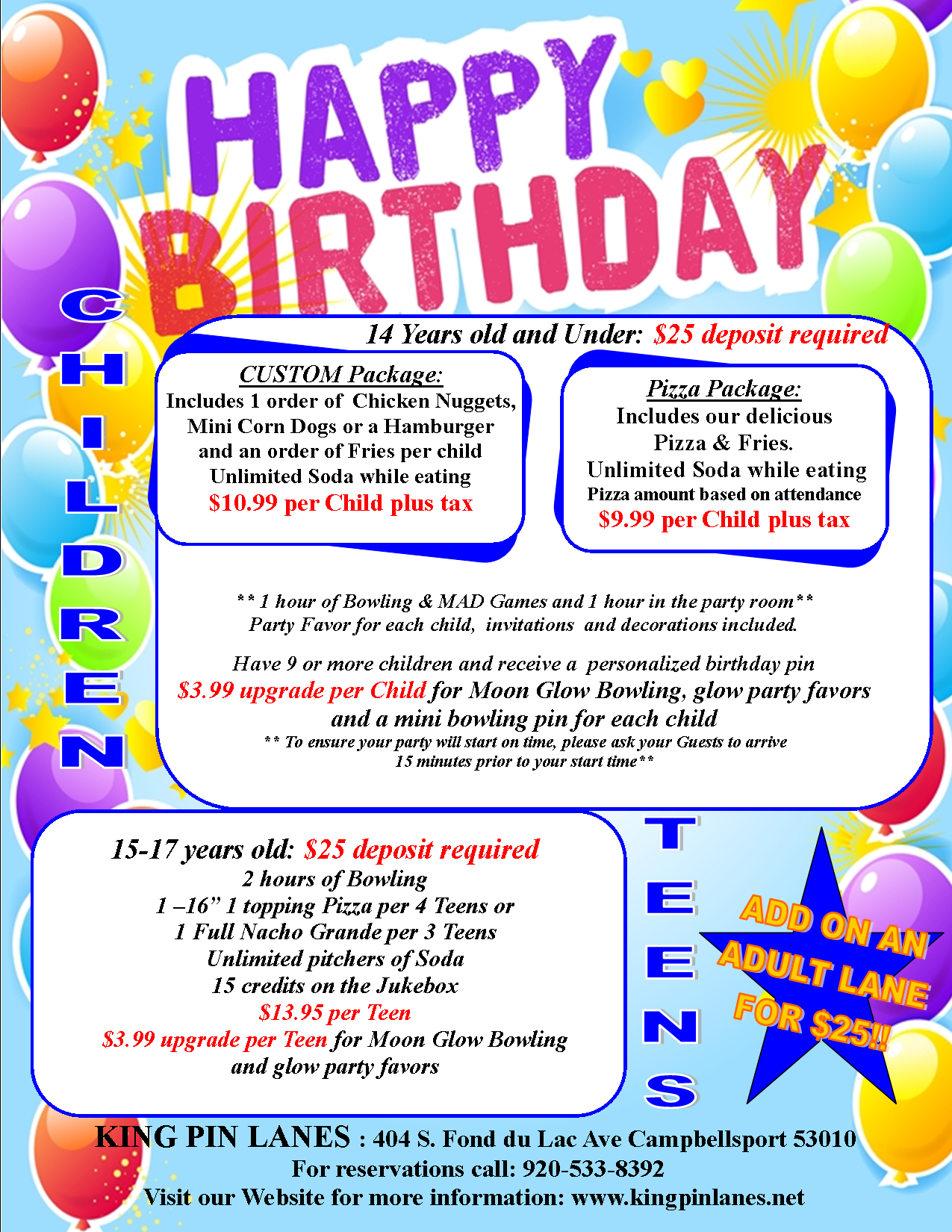 King Pin Lanes Parties At Birthday Party Info